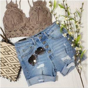 Button fly denim cut off shorts
